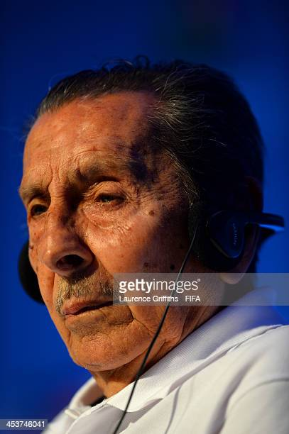 Former Uruguay footballer Alcides Ghiggia attends the Draw Assistants Press Conference during a media day ahead of the 2014 FIFA World Cup Draw at...