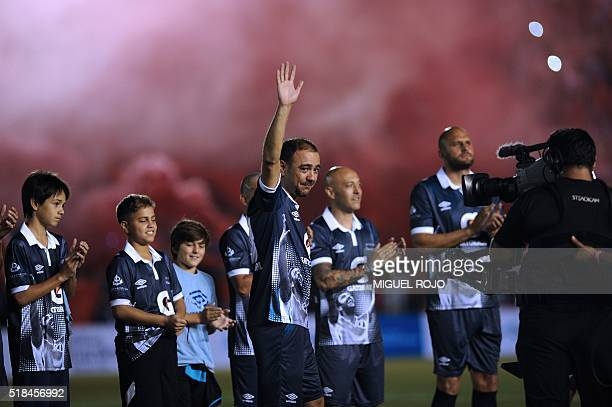 Former Uruguayan football player Alvaro Recoba greets to public during his 'Chino National Legend' farewell match played with footballer friends...