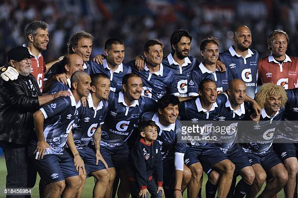 Former Uruguayan football player Alvaro Recoba poses with footballer friends arrived from Europe and Latin America before his 'Chino National Legend'...