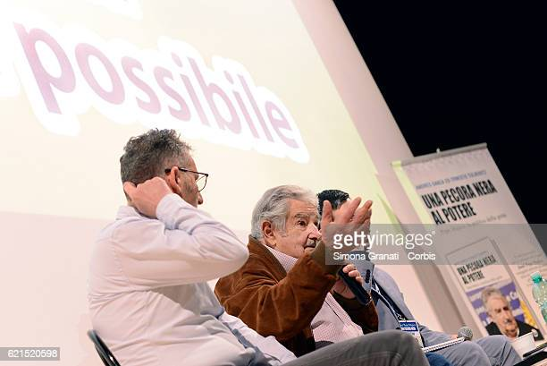Former Uruguayan President Jose '' Pepe '' Mujica meets students of Rome during the presentation of the book Una pecora nera al potere at the Teatro...
