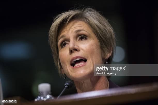 Former US Acting Attorney General Sally Yates testifies before the US Senate Judiciary Committee during a hearing on Russian Interference in the 2016...