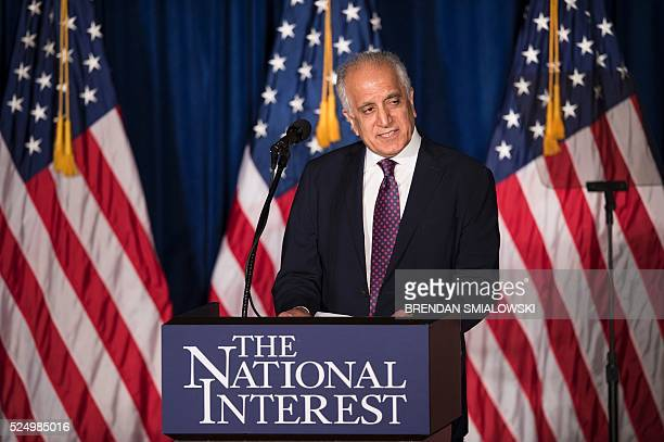 Former US Ambassador to Afghanistan Zalmay Khalilzad speaks before Republican US Presidential hopeful Donald Trump speaks about foreign policy at the...