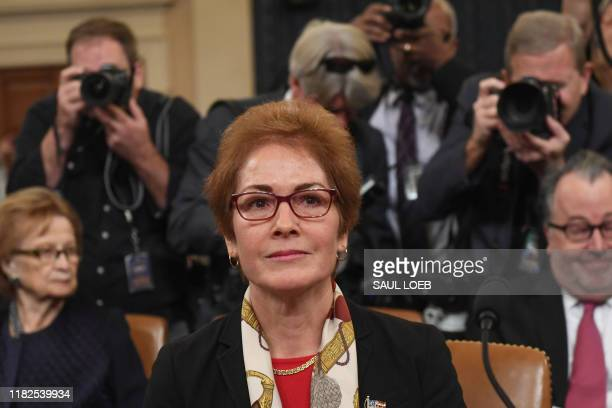 Former US Ambassador to the Ukraine Marie Yovanovitch testifies during the second public hearings held by the House Permanent Select Committee on...