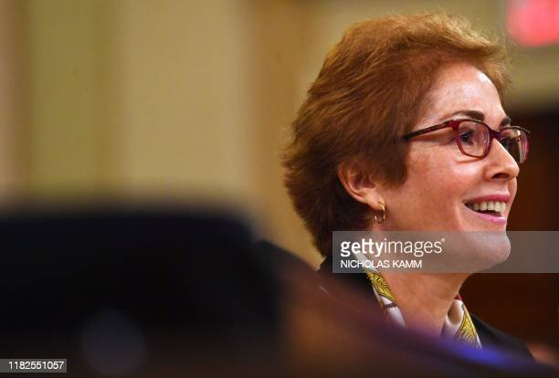 Former US Ambassador to the Ukraine Marie Yovanovitch testifies before the House Permanent Select Committee on Intelligence as part of the...