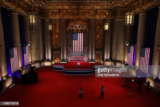 Former U.S. Ambassador to the United Nations Nikki Haley stands on stage in an empty Mellon Auditorium while addressing the Republican National...