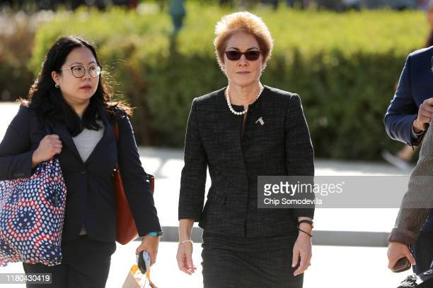 Former US Ambassador to Ukraine Marie Yovanovitch arrives at the US Capitol October 11 2019 in Washington DC Yovanovitch was invited to testify...