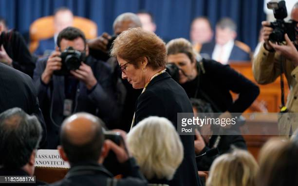 Former US Ambassador to Ukraine Marie Yovanovitch arrives during a hearing before the House Intelligence Committee in the Longworth House Office...