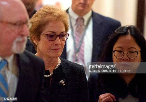 Former US Ambassador to Ukraine Marie Yovanovitch arrives for a closeddoors deposition before members of the House of Representatives on October 11...