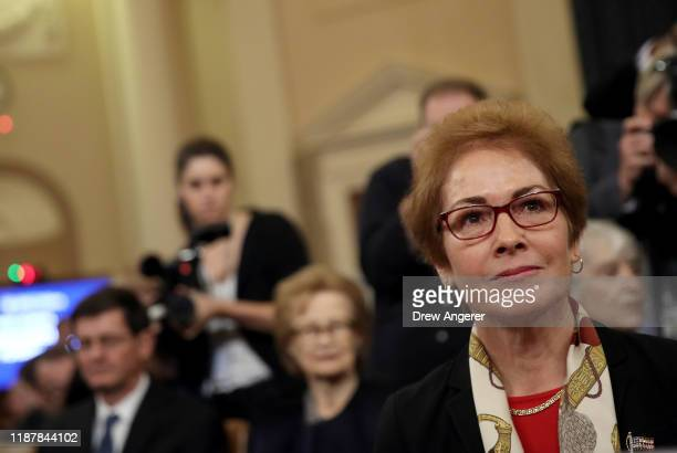 Former US Ambassador to Ukraine Marie Yovanovitch arrives for testimony before the House Intelligence Committee in the Longworth House Office...