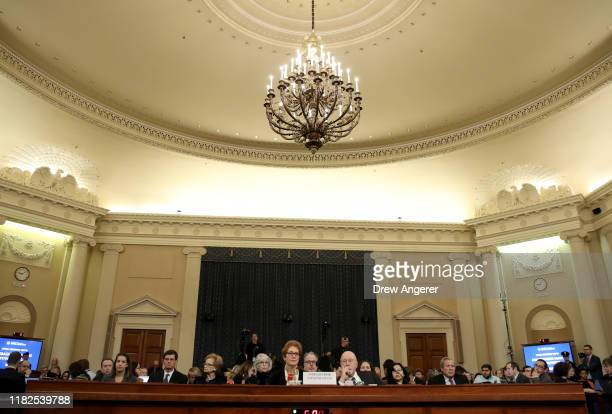 Former U.S. Ambassador to Ukraine Marie Yovanovitch arrives to testify before the House Intelligence Committee in the Longworth House Office Building...