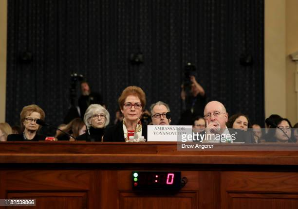 Former US Ambassador to Ukraine Marie Yovanovitch arrives to testify before the House Intelligence Committee in the Longworth House Office Building...