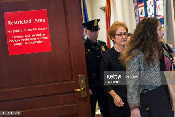 Former US Ambassador to Ukraine Marie Yovanovitch exits the restricted area of the US Capitol on October 11 2019 The House Intelligence House Foreign...