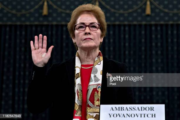 Former US Ambassador to Ukraine Marie Yovanovitch is sworn in prior to providing testimony before the House Intelligence Committee in the Longworth...