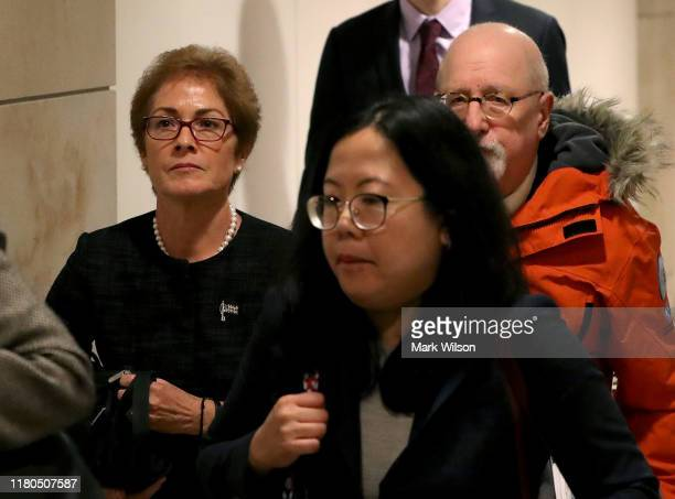 Former US Ambassador to Ukraine Marie Yovanovitch leaves a closed door hearing at the US Capitol October 11 2019 in Washington DC Yovanovitch is...