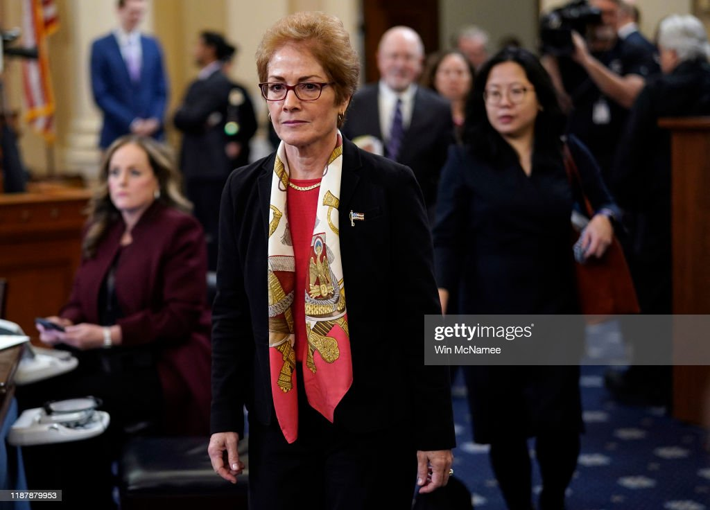Former U.S. Ambassador To Ukraine Marie Yovanovitch Testifies At Impeachment Hearing : News Photo
