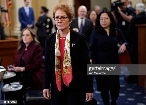 Former US Ambassador to Ukraine Marie Yovanovitch returns for additional questioning after a break while testifying before the House Intelligence...