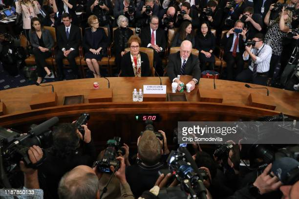 Former US Ambassador to Ukraine Marie Yovanovitch sits next to her attorney Larry Robbins before testifying to the House Intelligence Committee in...