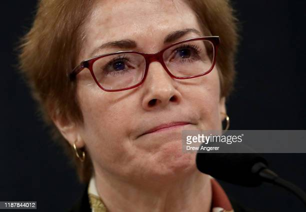 Former U.S. Ambassador to Ukraine Marie Yovanovitch testifies before the House Intelligence Committee in the Longworth House Office Building on...