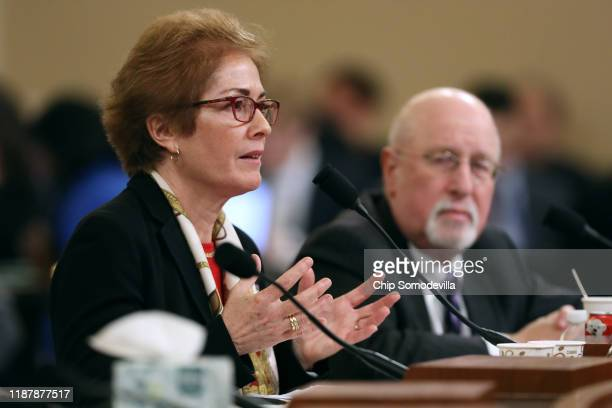 Former US Ambassador to Ukraine Marie Yovanovitch testifies before testifying to the House Intelligence Committee with her attorney Larry Robbins in...