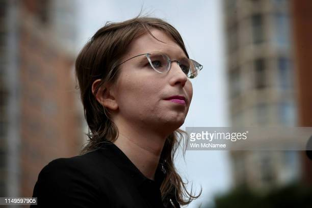 Former US Army intelligence analyst Chelsea Manning addresses reporters before entering the Albert Bryan US federal courthouse May 16 2019 in...