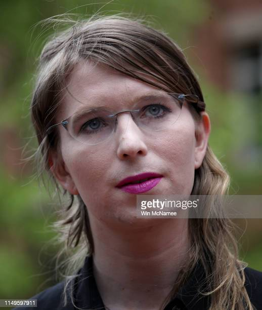 Former U.S. Army intelligence analyst Chelsea Manning addresses reporters before entering the Albert Bryan U.S federal courthouse May 16, 2019 in...