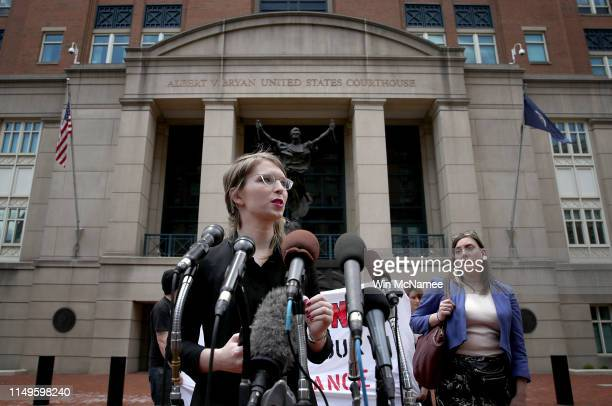 Former US Army intelligence analyst Chelsea Manning addresses reporters outside the Albert Bryan US federal courthouse with attorney Moira...