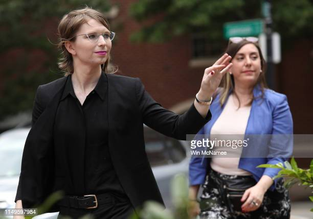 Former U.S. Army intelligence analyst Chelsea Manning arrives at the Albert Bryan U.S federal courthouse with attorney Moira Meltzer-Cohen May 16,...