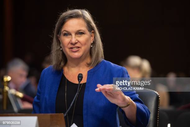 Former US Assistant Secretary of State for European and Eurasian Affairs Victoria Nuland testifies before the Senate Intelligence Committee during a...
