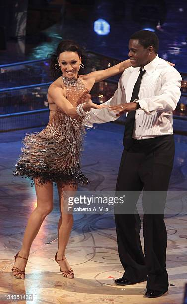 Former US athlete Carl Lewis and his dance partner Nancy Berti perform on the Italian TV show 'Ballando Con Le Stelle' at RAI Auditorium on January 9...