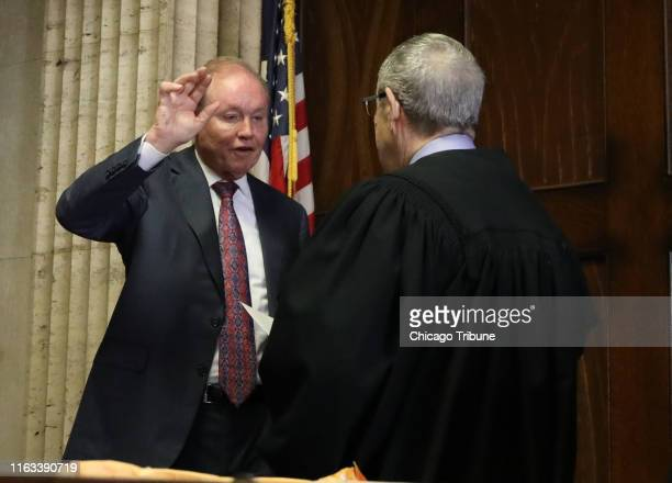 Former U.S. Attorney Dan Webb takes the oath of special prosecutor during an status hearing concerning actor Jussie Smollett at the Leighton Criminal...
