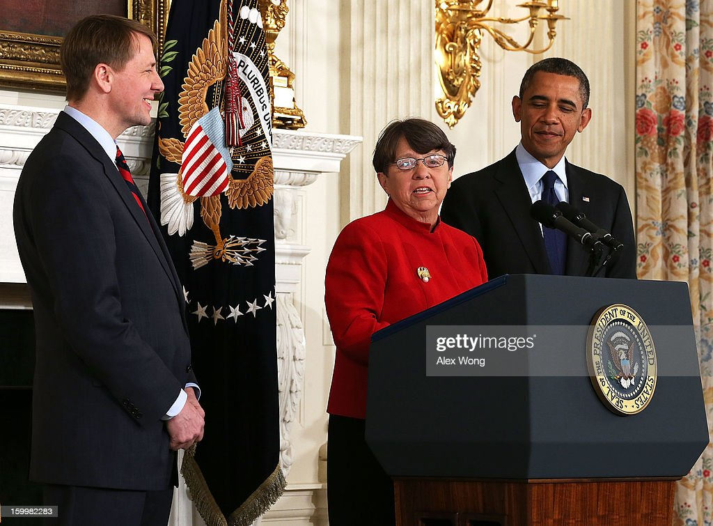 Former U.S. Attorney for the Southern District of New York Mary Jo White (C) speaks as U.S. President Barack Obama (R) and Director of the United States Consumer Financial Protection Bureau Richard Cordray look on during a personnel announcement at the State Dining Room of the White House January 24, 2013 in Washington, DC. President Obama nominated Mary Jo White to become the new Chairwoman of Securities and Exchange Commission. He also re-nominated Richard Cordray for the same position Cordray has been holding.