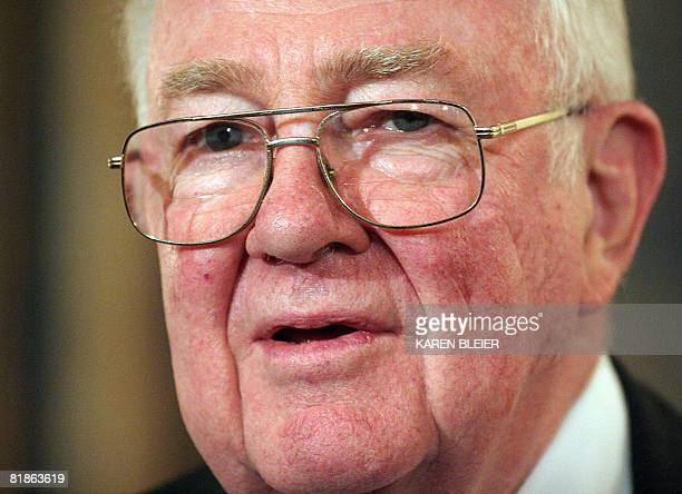 Former US Attorney General Edwin Meese III member of the National War Powers Commission is seen prior to a press conference July 8 2008 on Capitol...