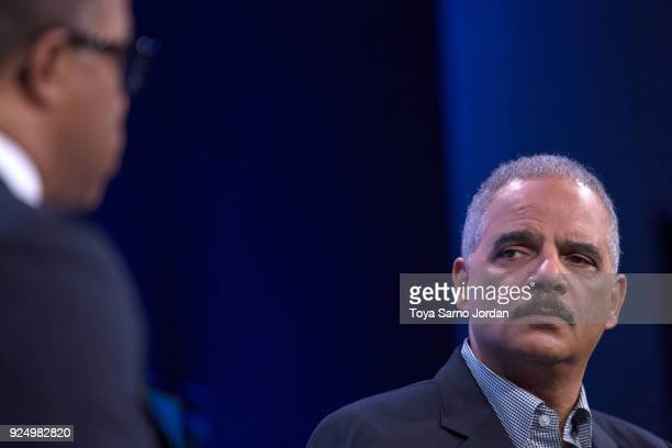 Former US Attorney General Eric Holder speaks during an interview at the Washington Post on February 27 2018 in Washington DC During an interview...