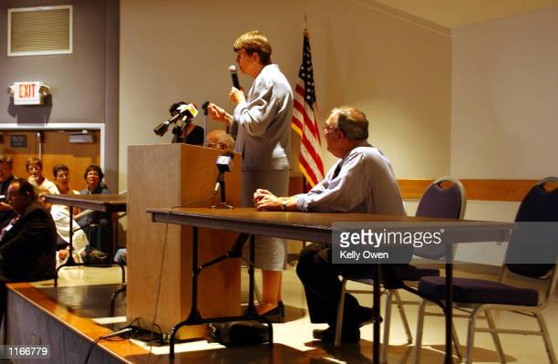 Former US Attorney General Janet Reno who is campaigning for governor of Florida speaks to a group of Palm Beach County residents gathered October 4...