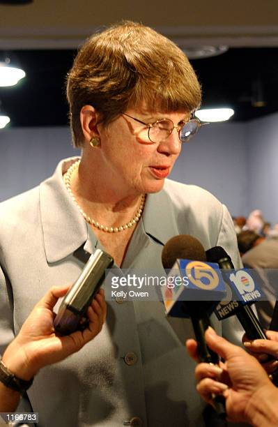 Former US Attorney General Janet Reno who is campaigning for governor of Florida speaks to the media October 4 2001 after addressing a group of Palm...