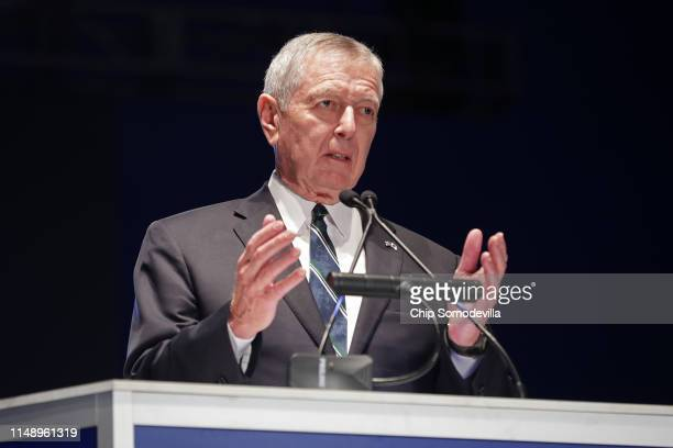 Former U.S. Attorney General John Ashcroft delivers remarks during the National Police Week 31st Annual Candlelight Vigil on the National Mall May...