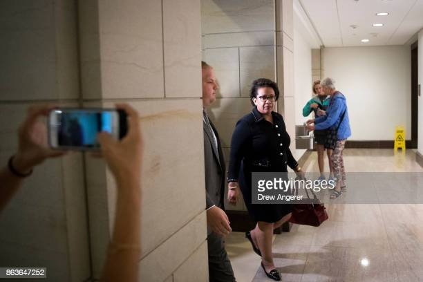 Former US Attorney General Loretta Lynch arrives at the US Capitol on her way to meet with members of the House Intelligence Committee October 20...