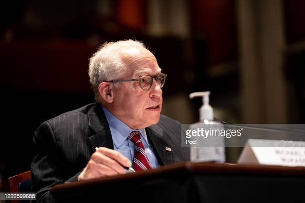 Former US Attorney General Michael B Mukasey testifies at a hearing of the House Judiciary Committee on June 24 2020 in Washington DC Democrats are...