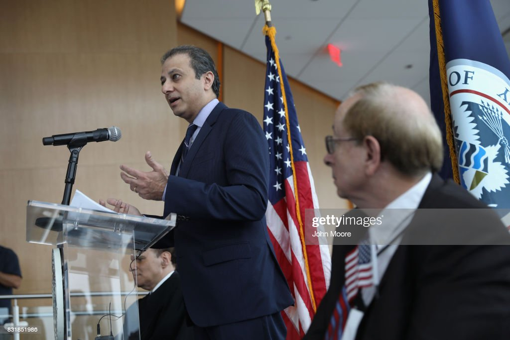 Former U.S. Attorney Preet Bharara addresses new American citizens at a naturalization ceremony in the observatory of One World Trade Centeron August 15, 2017 in New York City. Bharara gave the keynote address at the event, where 30 immigrants took the oath of citizenship to become American citizens. Bharara was the U.S. Attorney for the Southern District of New York from 2009-2017 before he was fired by President Donald Trump.