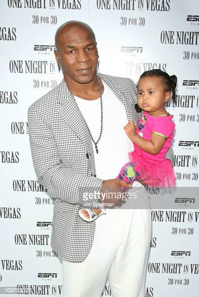 Former US boxing heavyweight world champion Mike Tyson and daughter Milan Tyson attend the premiere of ESPN Films' One Night In Vegas at the Dwyer...