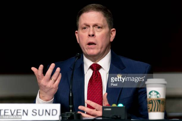 Former U.S. Capitol Police Chief Steven Sund testifies during a Senate Homeland Security and Governmental Affairs & Senate Rules and Administration...