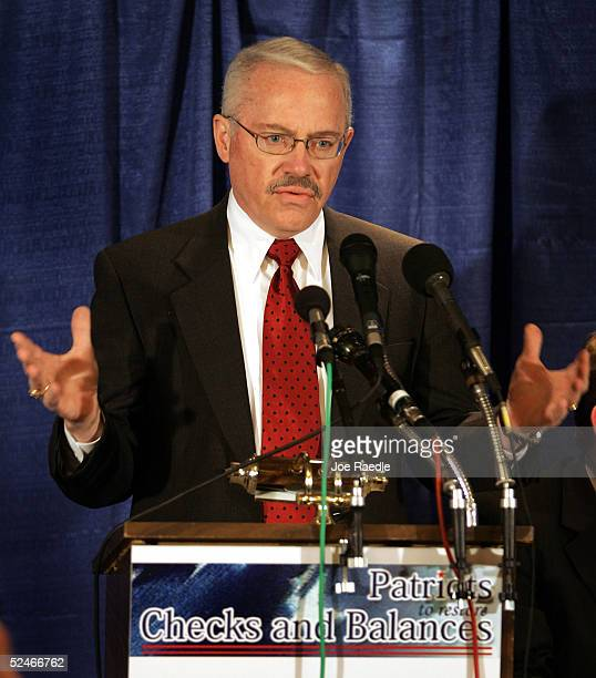 Former US Congressman Bob Barr speaks during a press conference to announce the creation of a group known as the Patriots to Restore Checks and...