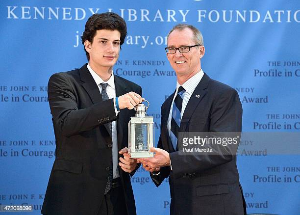 Former US Congressman Bob Inglis receives the 2015 John F Kennedy Profile in Courage Award from John F Kennedy's grandson Jack Schlossberg for the...