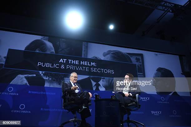 Former US Congressman Donald Rumsfeld and Chairman CEO Matthew A Swift speak at the 2016 Concordia Summit Day 2 at Grand Hyatt New York on September...