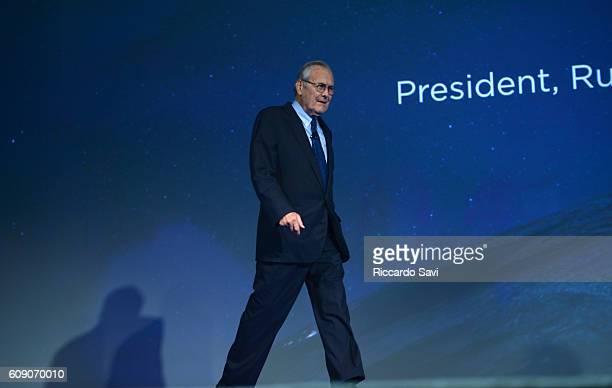 Former US Congressman Donald Rumsfeld speaks at the 2016 Concordia Summit Day 2 at Grand Hyatt New York on September 20 2016 in New York City