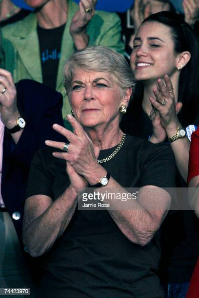 Former US Congresswoman Geraldine Ferraro claps at a political rally for Hillary Clinton called Club 44 in reference to the 44th President of the...