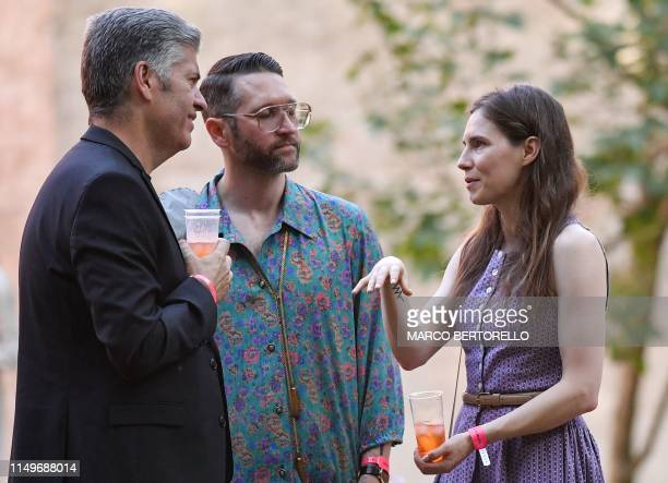Former US convict Amanda Knox along with her boyfriend, author Chris Robinson attends a cocktail event on the eve of the opening of the Criminal...