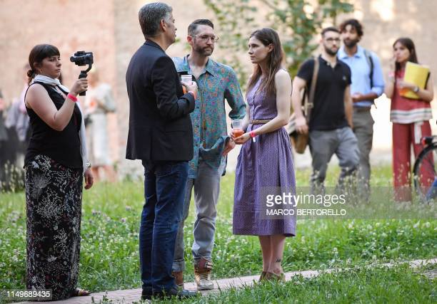 Former US convict Amanda Knox attends a cocktail event on the eve of the opening of the Criminal Justice Festival, at the Law University of Modena,...