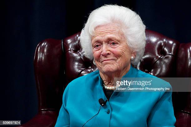 Former US First Lady Barbara Bush discusses her White House experience during a daylong symposium titled America's First LadiesAn Enduring Legacy at...