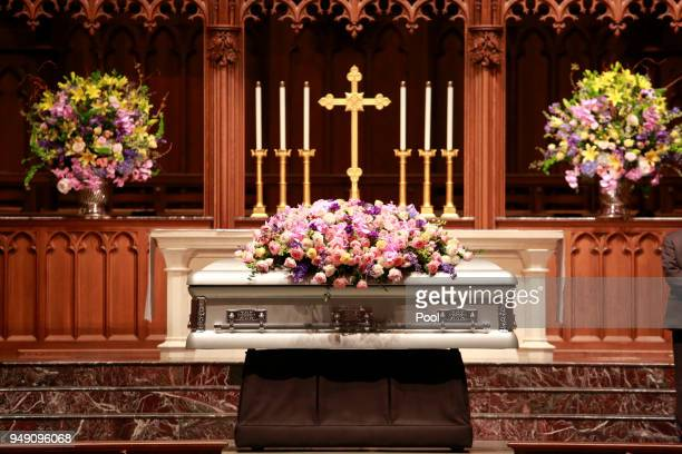 Former US first lady Barbara Bush the wife of the 41st president George HW Bush and mother of the 43rd George W Bush lies in repose at St Martin's...